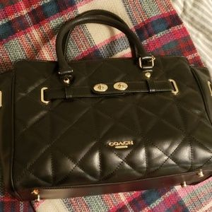 COACH black quilted Satchel